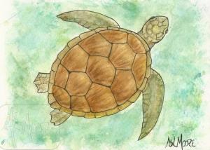 Deep Sea Turtle - watercolor and pen 5x7