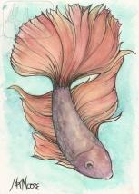 Sunlit Fins - watercolor and pen 5x7