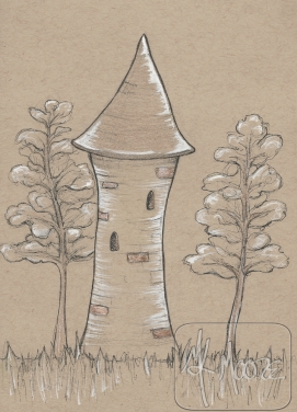 A Lonely Tower - pen and ink 5x7